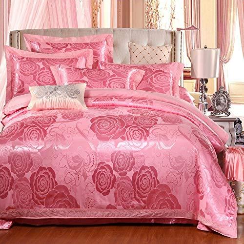 LEV Bedding Sets satin wedding jacquard mulberry silk bedding 100% cotton embroideredincluding duvet cover bed sheet pillowcase cream 1 PCs