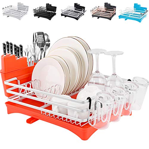 """ROTTOGOON Aluminum Dish Drying Rack, 16.5"""" x 11.8"""" Compact Rustproof Dish Rack and Drainboard Set, Dish Drainer with Adjustable Swivel Spout, Removable Cutlery and Cup Holder, Orange & Silver"""