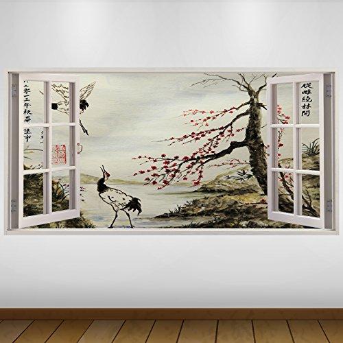 LagunaProject Extra Grande Japón Rojo jardín de fantasía de Vinilo 3D Póster - Mural Decoración - Etiqueta de la Pared -140cm x 70cm