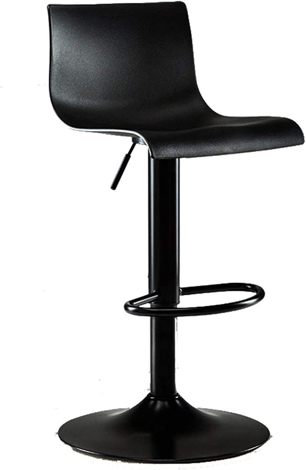 Counter bar Chair, Large backrest Metal Plastic High Stool The Company Rest Area Bar Stool Kitchen Living Room Chair Height 90-120CM (color   Black)