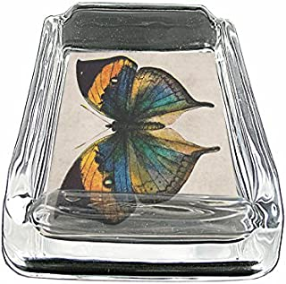 Perfection In Style Glass Square Ashtray Vintage Butterfly Design 010