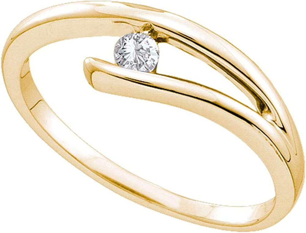 Dazzlingrock Collection 10kt Yellow Gold Womens Round Diamond Solitaire Promise Bridal Ring 1/10 ctw