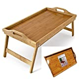 Klass Home Collection Large Natural Bamboo Wood Portable Light Weight Wooden Bed Table Breakfast Serving Tray...