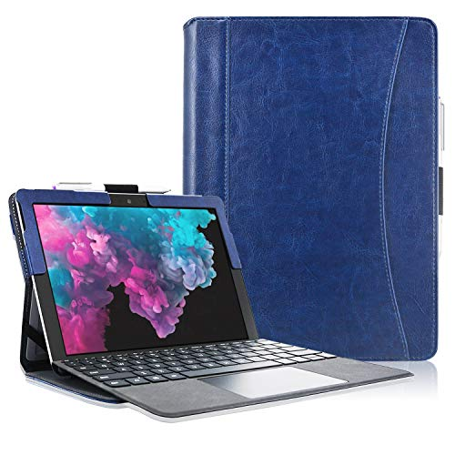 ACcolor Microsoft Surface Pro 7 Case, Multiple Angle Viewing with Pocket Business Cover Case for Surface Pro 6 / Surface Pro 5 / Surface Pro 4 / Surface Pro 3(Fit Type Cover Keyboard), Dark Blue