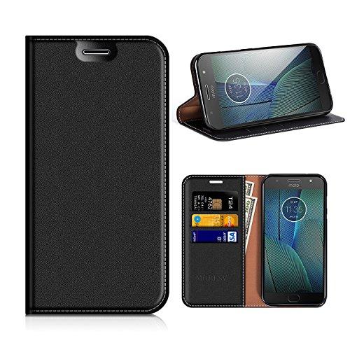 MOBESV Motorola Moto G5S Plus Hülle Leder, Motorola Moto G5S Plus Tasche Lederhülle/Wallet Hülle/Ledertasche Handyhülle/Schutzhülle mit Kartenfach für Motorola Moto G5S Plus - Schwarz