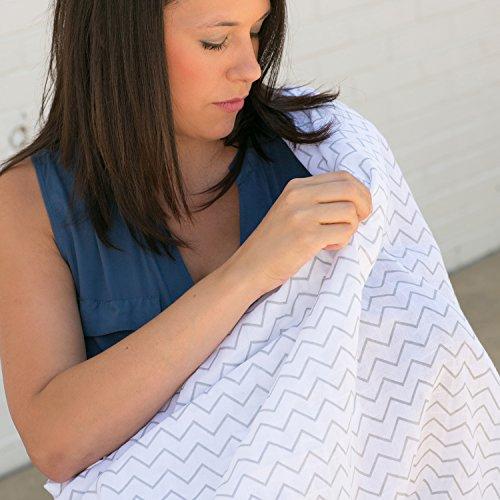 Baby Muslin Swaddle Blankets, 47x47 3 Pack Chevron, Arrow, Cross, Grey/White