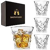 YoungLA Premium Scotch Glasses Set of 4 - Elegant Whiskey Glasses for Scotch, Single Malt - Old Fashioned Glass Set in Gift Box - Rocks Whisky Tumblers for Cocktails - Home Bar Glassware Tumbler Set