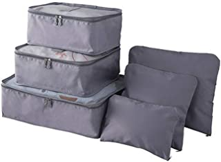 Waterproof Travel Storage Bags Luggage Organizer Pouch Packing Cube Clothing Sorting Packages Pack of 6Pcs Gray L