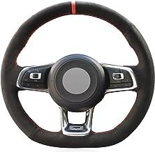 JIANGJUNCHE Para Gamuza Negra Cosida a Mano Cubierta del Volante del Coche para Volkswagen Golf 7 GTI Golf R MK7 VW Polo GTI Scirocco 2015 2016
