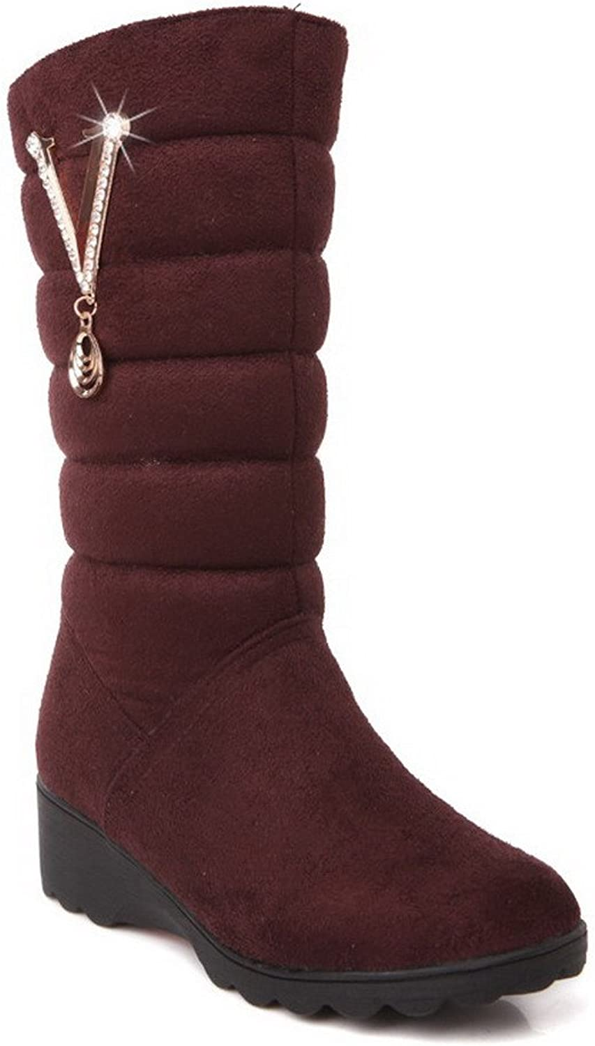 WeenFashion Women's Low-top Solid Pull-on Closed Round Toe Low-Heels Boots