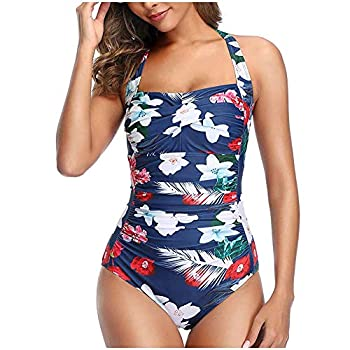 Aniywn Women s Vintage Solid Color Ruched Padded Push Up One Piece Swimsuits Tummy Control Bathing Suits White