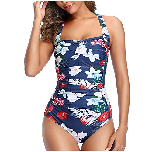 Aniywn Women's Vintage Solid Color Ruched Padded Push Up One Piece Swimsuits Tummy Control Bathing Suits White