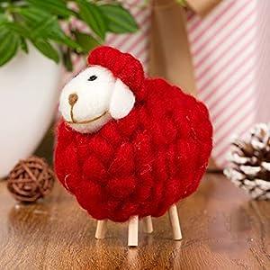 QINGCHU Life Artesanía Oveja con bebé cordero, lana de fieltro, oveja familiar, juguetes decorativos, muñeca de peluche, escritorio, fondo blanco