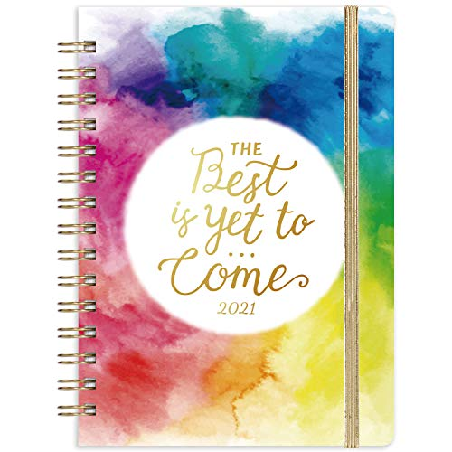 2021 Planner - Weekly & Monthly Planner with Tabs, 6.3' x 8.4', Jan. - Dec. 2021, Hardcover with Back Pocket, Thick Paper + Banded + Twin-Wire Binding - Watercolor Ink