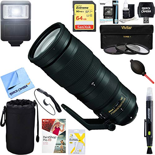 Nikon (20058 200-500mm f/5.6E ED VR AF-S NIKKOR Zoom Lens Digital SLR Cameras + 64GB Ultimate Filter & Flash Photography Bundle