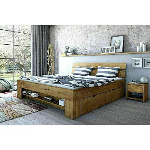 Eternity-Moebel24 Futonbett Schlafzimmerbett Doppelbett Wildeiche Massivholz geölt 180 x 200 cm inkl. 4 Bettkästen
