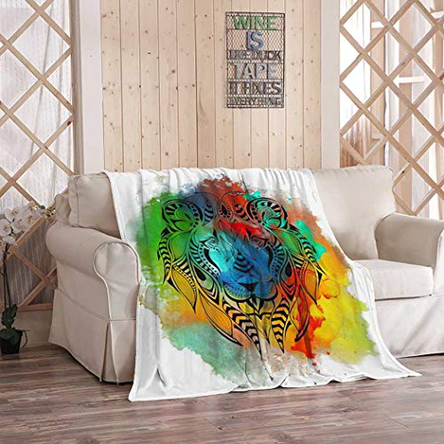 Aofire Antler Flannel Blankets and Throws, Colored Head of Lion African Totem Tattoo Throw Blanket for Bed Couch Bedroom Fleece Fluffy Cozy Blanket Adults 60x80 Inch