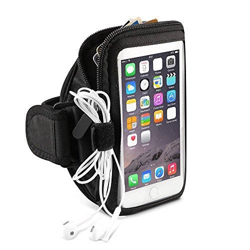 Schwarz Running Sport Gym Reißverschluss Sportarmband für iPhone 7Plus/Samsung Galaxy S7Edge/A5J3J5/LG G5/LG Stylus 2/LG X CAM/Nexus 6P/LG K4-K8/wileyfox Spark X/Alcatel Pop 4