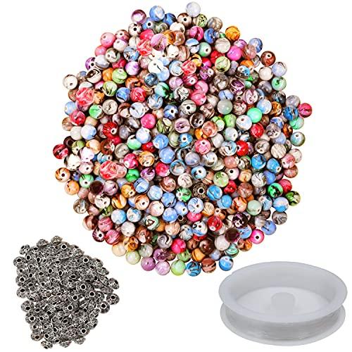 BELLE VOUS Acryl Perlen zum Auffädeln Schmuck Perlen Set mit Zwischenperlen und Schnur (500 Pack) - Für Armbänder & Halsketten - DIY Set Bastelperlen - Bunte Perlen zum Basteln von Schlüsselanhängern