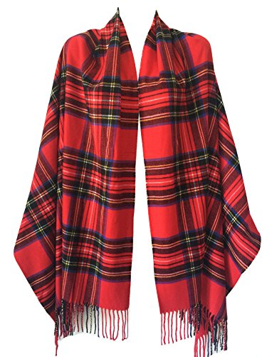 Women Oversized Scottish Tartan Clan Plaid Cashmere Feel Shawl Wrap Winter Scarf (Red Tartan)