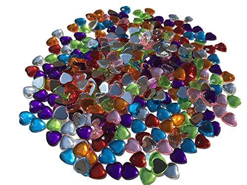 CRYSTAL KING Glitzernde Strasssteine 300 Stück Deko Herzen 10mm bunt basteln Gltzersteine Schmucksteine Strass Steine zum Bekleben Strass Steine zum Verzieren Dekoration Liebe