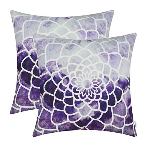 CaliTime Pack of 2 Cozy Fleece Throw Pillow Cases Covers for Couch Bed Sofa Manual Hand Painted Print Colorful Dahlia Compass 16 X 16 Inches Deep Purple