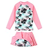 BAOHULU Girl's Two-Piece Long Sleeve Swimsuits UPF50+ Rash Guard Set Kids Bathing Suit S323_CocoTree_14A