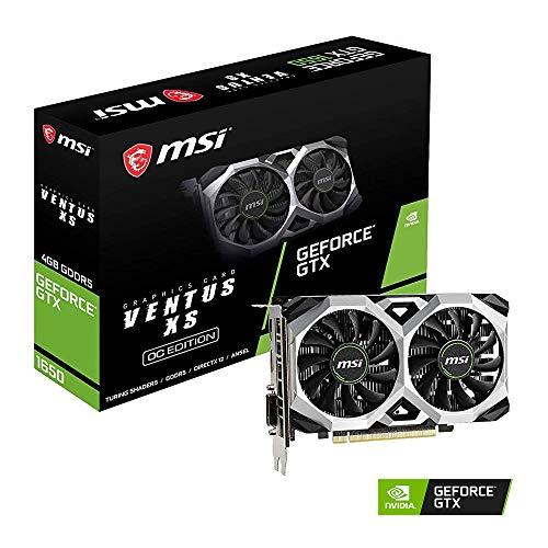 MSI GeForce GTX 1650 Ventus XS OC 4GB GDDR5 Carte Graphique, 896 Core, 1485 MHz GPU, 1740 MHz Boost Noir/Argent
