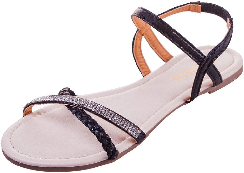 MUDAN Womens shoes Flat Braided & Rhinestone Comfortable Slingback Sandal (5 B (M) US, Black)