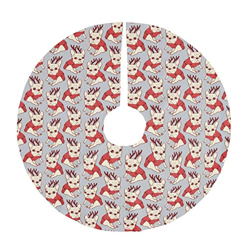 Christmas Tree Skirt Xmas Tree Skirt,Christmas Trees Mat Decorations Indoors,Cream Frenchie in Christmas Sweater - 48 inch