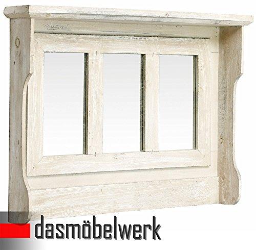 dasmöbelwerk Ablage mit 3 Spiegeln Shabby Chic Weiß Wandspiegel Landhaus 13.195.04A