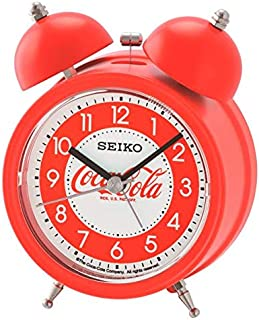 SEIKO Coca Cola Quiet Sweep Alarm Clock with Snooze and Night Light, Red