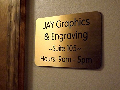 Custom Engraved 4x6 Brushed Gold w/Black Lettering Door Suite Wall Sign | Name Plate | Personalized Wall Plaque | Business Doctor Law Firm Home Office Cafe Shop | Up to 4 Text Lines | Adhesive Backed