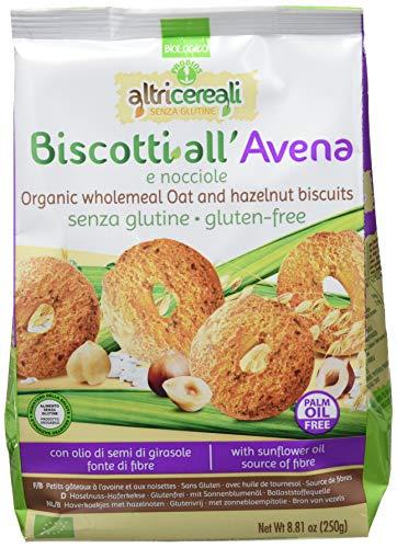 Probios Biscotti all'Avena e Nocciole Bio senza Glutine - Pacco da 10 x 250 g