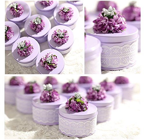 "Astra shop 5 Pack Small Wedding Favor Tin Boxes Candy Boxe for Bridal Shower Baby Shower, 3""x1.77""(Lilac)"