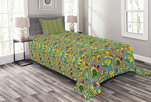 Ambesonne Car Race Track Bedspread, Abstract Roadway Activity Illustration with River Intersecting Roads, Decorative Quilted 2 Piece Coverlet Set with Pillow Sham, Twin Size, Grey Yellow