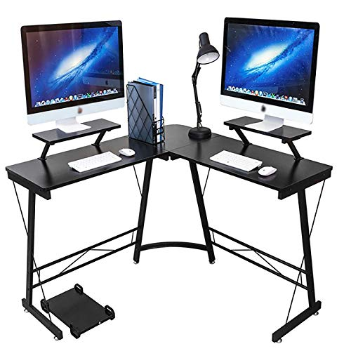 CYYAN Escritorio en Forma de L, Escritorio de Esquina en Forma de L, Mesa de Escritorio para Juegos con Soporte Vertical para Monitor Grande para Oficina en casa