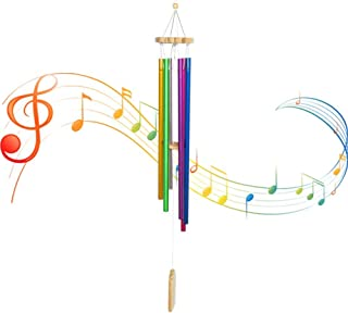 "KHE Wind Chimes, Outdoor Colorful Wind Chime with 6 Metal Tubes, 30"" Total Length for Room Balcony Window Garden Yard Home..."