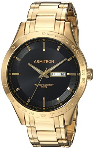 Armitron Men's 20/5174BKGP Day/Date Function Gold-Tone Bracelet Watch