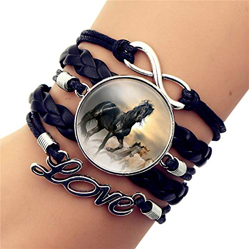 Damen Armband,Vintage Multilayer Armband, eine Gruppe von Pferden in den Sonnenuntergang zu hetzen, Zeit Edelstein Schwarz geflochten Liebe Armband für Frauen Mädchen Geburtstag Schmuck Geschenk