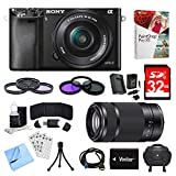Sony Alpha a6000 Black Camera with 16-50mm and 55-210mm Power Zoom Lenses Bundle with 2 Filter Kits, 32GB Memory Card, Battery, Deco Gear Camera Bag and Accessories (12 Items)
