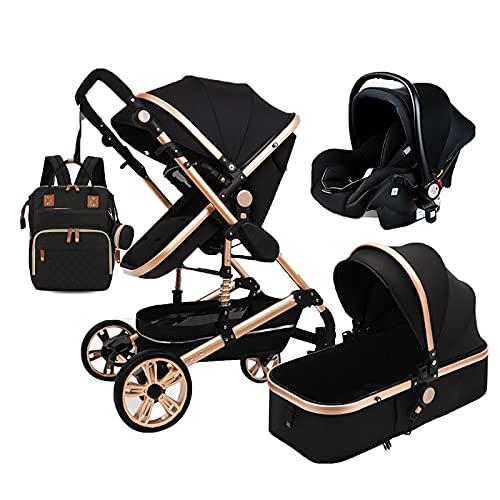 Cochecito de bebé 3 en 1 de lujo, sistema de viaje, plegable, alto paisaje, antigolpes, para recién nacidos, con organizador de cochecitos de bebé para grandes mamás, cubierta de lluvia, mosquitero