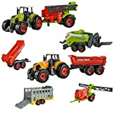 ISO TRADE Farm - Juego de 6 dispositivos agrícolas para niños tractores y remolques