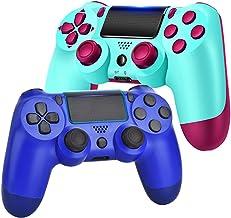 کنترلرهای بازی AUGEX 2 Pack برای PS4 ، کنترل کننده بی سیم سازگار با کنسول PS4 ؛ کنترل از راه دور AUGEX برای سیستم Playstation 4 با جوی استیک بازی دو لرزش (آبی توت)