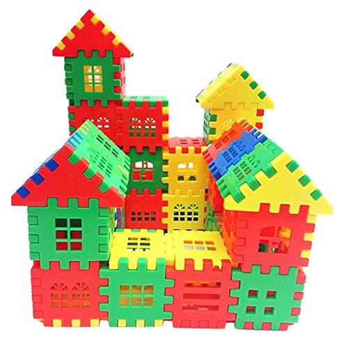 fine_fine DIY Children's Puzzle Plastic Block,50/100/160PCS Colorful Plastic Puzzle Construction Playset Creative Educational Stacking Blocks Toys with Storage Box (50PCS)