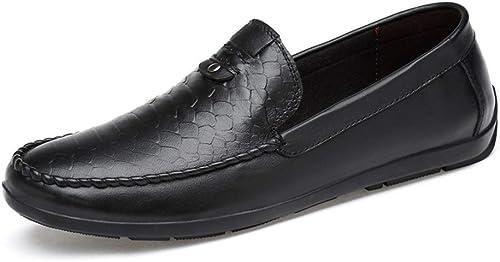 GLSHI Hommes Drive Mocassins Slip on Leather - Chaussures Bateau à Bout Rond en Cuir Jackanapes SHINIK