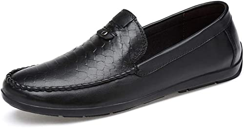 QISTAR-MAN Driving Loafer for Herren Boat Moccasins Slip On Style OX Leder Round Toe Leichtgewicht Penny-Loafer (Farbe   Schwarz, Größe   42 EU)