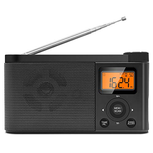 Portable AM FM Radio Emergency Weather Alert Radio Operated by 4 AA Batteries Transistor Radio with Excellent Reception Digital Screen Station preset Clear Sounds and Stereo Earphone Jack
