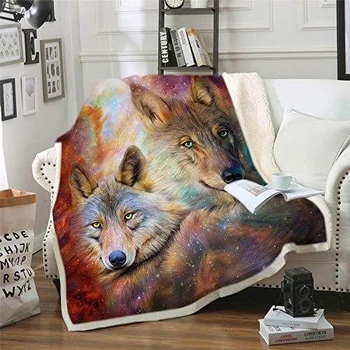Wolf Sherpa Throw Super Doux Polaire Canapé Lit Couvertures 125 cm x 150 cm