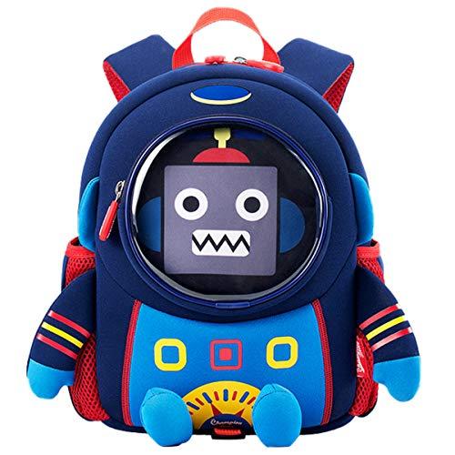 Wenlia Zaino per bambini, Borse da scuola cartone animato in 3D Robot spaziale Zaino per bambini Scuola materna Carino Zaino da viaggio Zaino casual da esterno